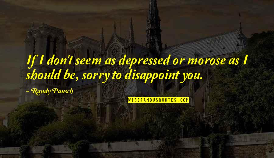 I'm Sorry If I'm Not There For You Quotes By Randy Pausch: If I don't seem as depressed or morose