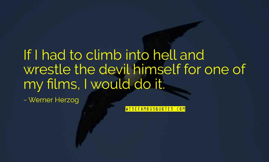 I'm The Devil Quotes By Werner Herzog: If I had to climb into hell and