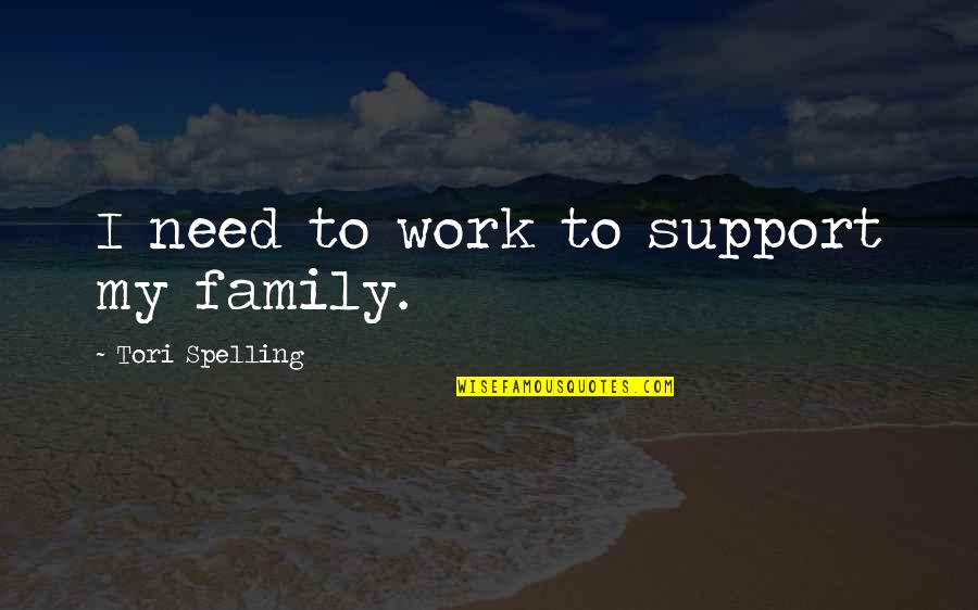 Im5 Quotes By Tori Spelling: I need to work to support my family.