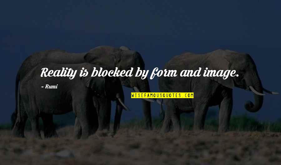 Image And Reality Quotes By Rumi: Reality is blocked by form and image.