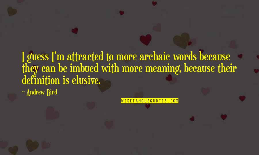 Imbued Quotes By Andrew Bird: I guess I'm attracted to more archaic words