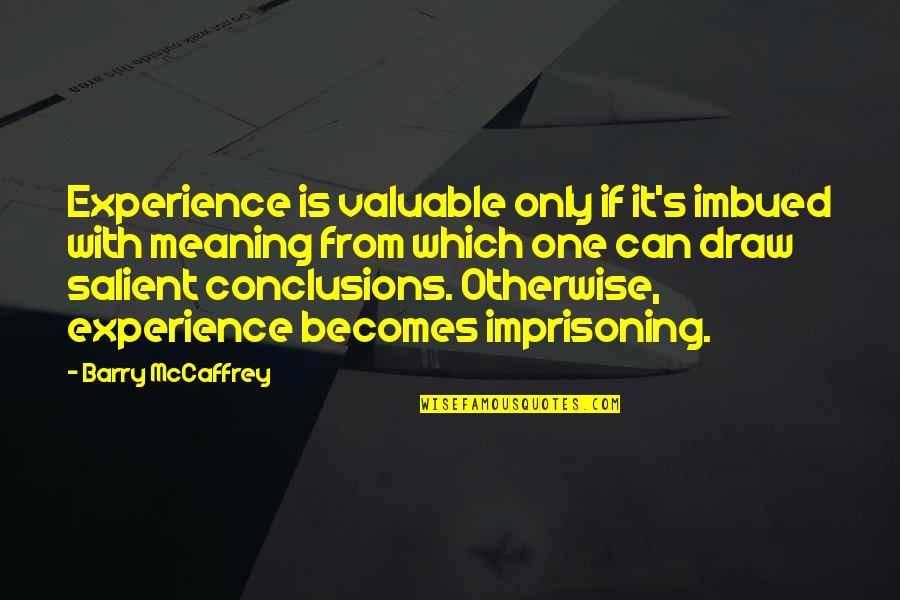 Imbued Quotes By Barry McCaffrey: Experience is valuable only if it's imbued with