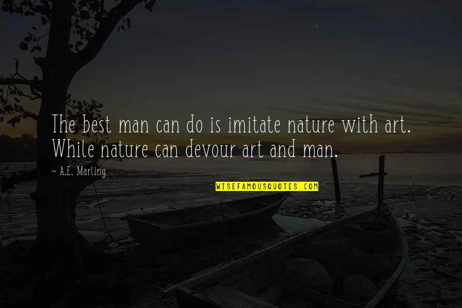 Imitate Art Quotes By A.E. Marling: The best man can do is imitate nature