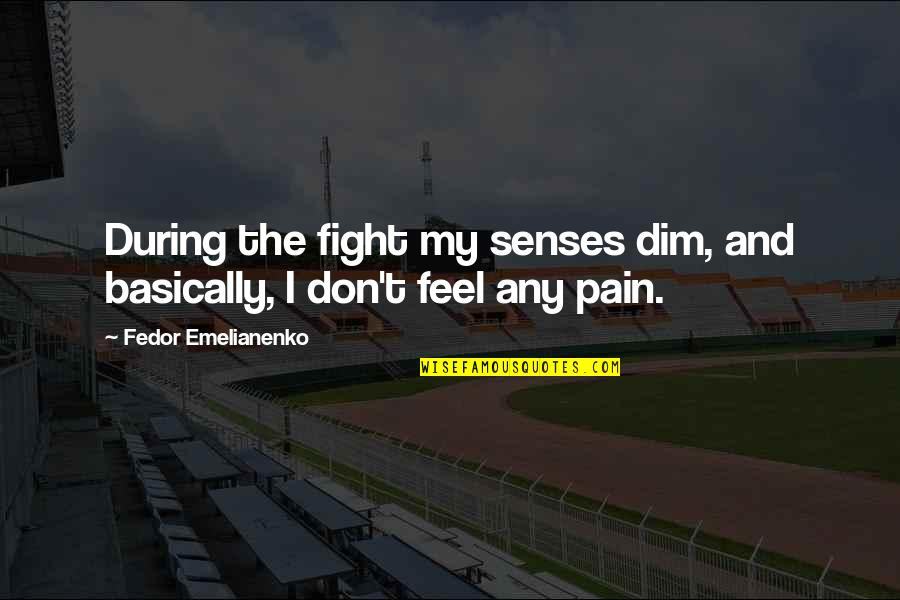 I'mma Quotes By Fedor Emelianenko: During the fight my senses dim, and basically,