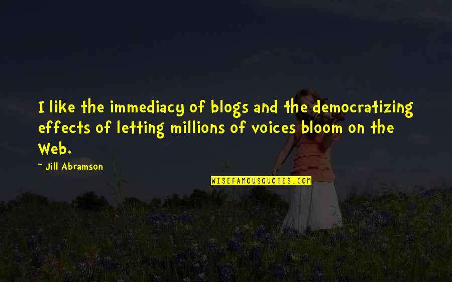 Immediacy Quotes By Jill Abramson: I like the immediacy of blogs and the
