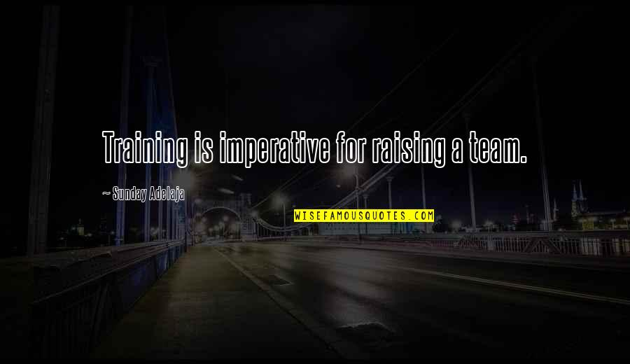 Imperative Quotes By Sunday Adelaja: Training is imperative for raising a team.