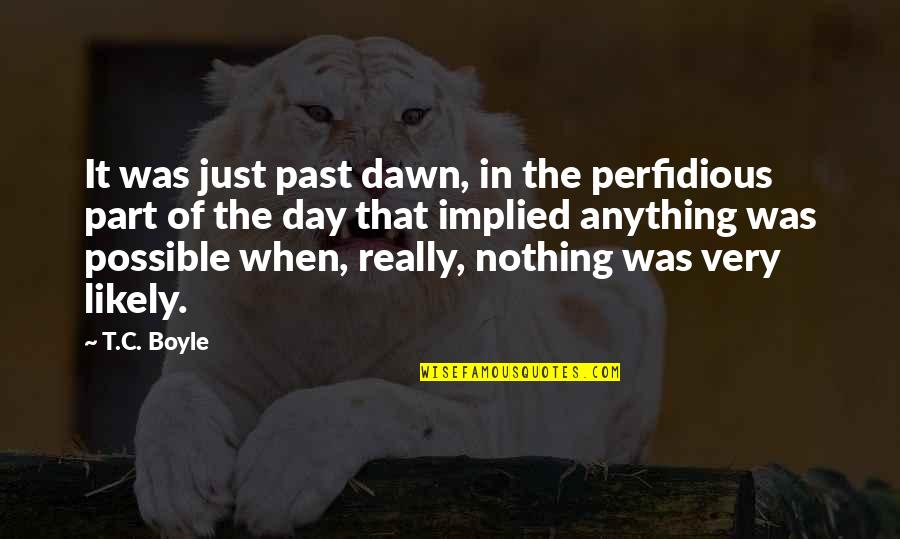 Implied Quotes By T.C. Boyle: It was just past dawn, in the perfidious