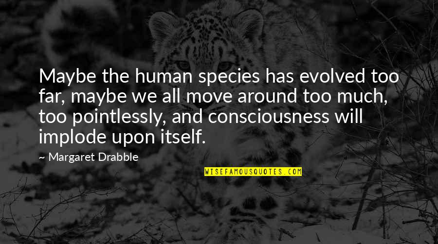 Implode Quotes By Margaret Drabble: Maybe the human species has evolved too far,