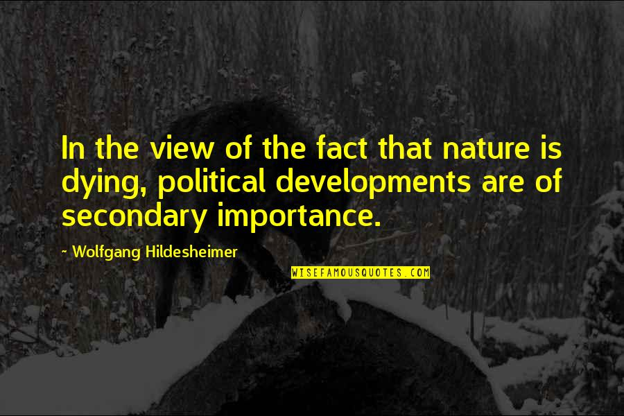 Importance Of Nature Quotes By Wolfgang Hildesheimer: In the view of the fact that nature