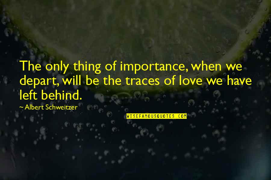 Importance Of Your Love Quotes By Albert Schweitzer: The only thing of importance, when we depart,