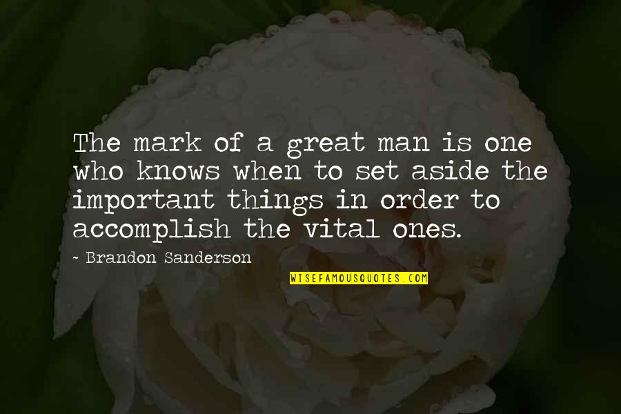 Important Things Quotes By Brandon Sanderson: The mark of a great man is one