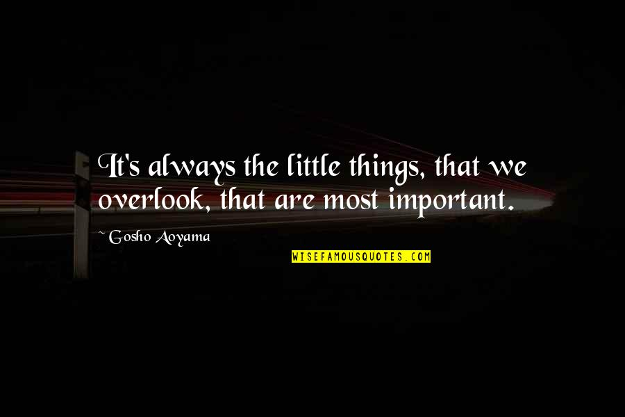 Important Things Quotes By Gosho Aoyama: It's always the little things, that we overlook,