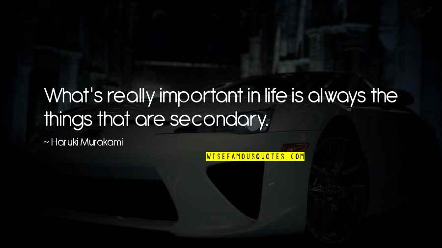 Important Things Quotes By Haruki Murakami: What's really important in life is always the