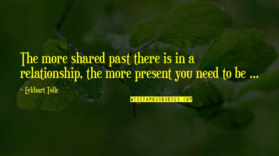 In A Relationship Quotes By Eckhart Tolle: The more shared past there is in a
