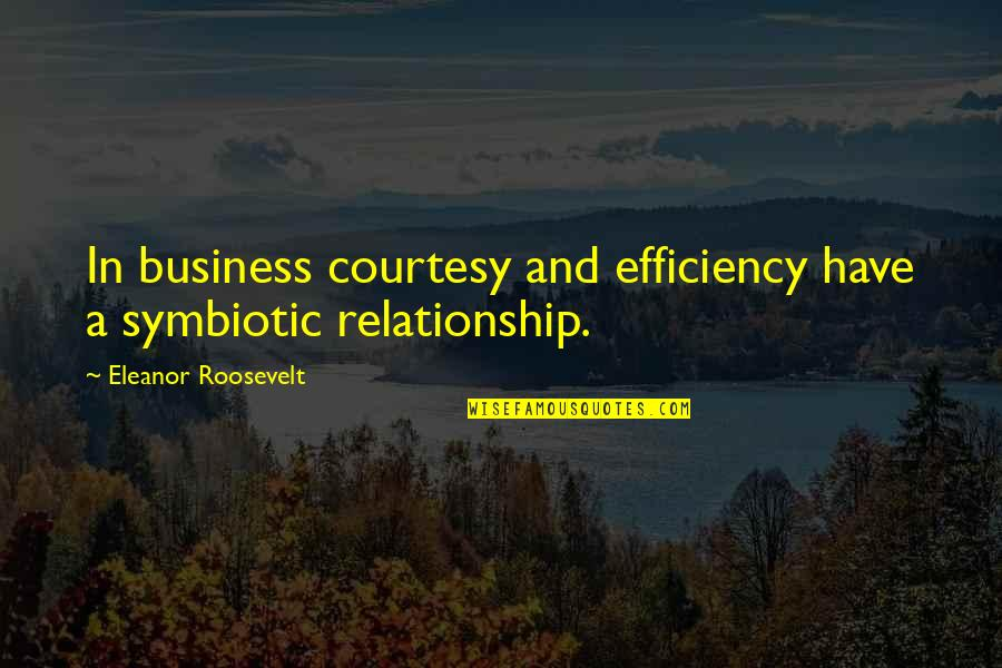 In A Relationship Quotes By Eleanor Roosevelt: In business courtesy and efficiency have a symbiotic
