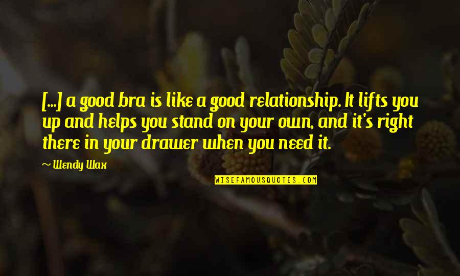 In A Relationship Quotes By Wendy Wax: [...] a good bra is like a good