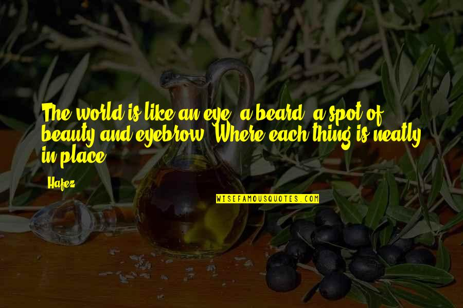 In A World Where Quotes By Hafez: The world is like an eye, a beard,