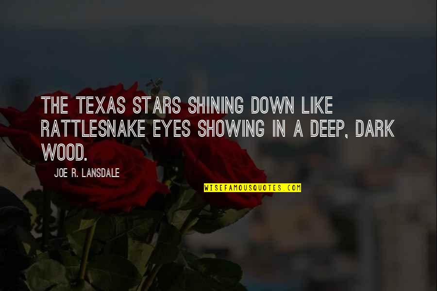 In Deep Quotes By Joe R. Lansdale: the Texas stars shining down like rattlesnake eyes