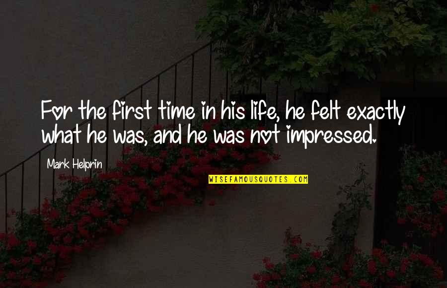 In His Time Quotes By Mark Helprin: For the first time in his life, he