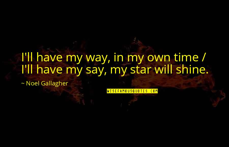 In My Own Time Quotes By Noel Gallagher: I'll have my way, in my own time