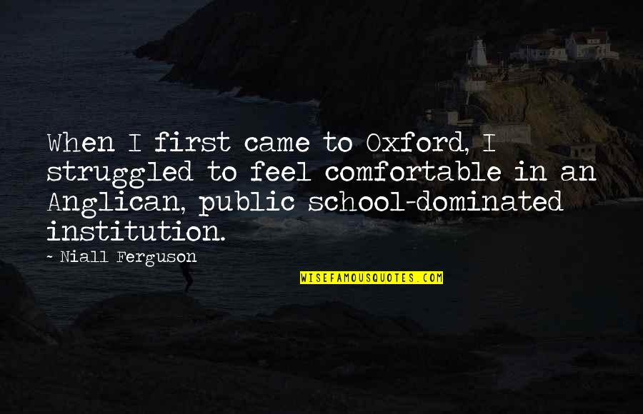 In School Quotes By Niall Ferguson: When I first came to Oxford, I struggled
