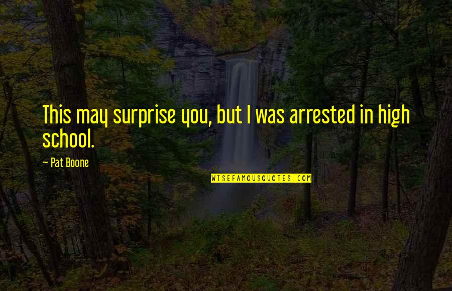 In School Quotes By Pat Boone: This may surprise you, but I was arrested
