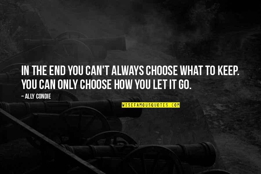 In The End It Only You Quotes By Ally Condie: In the end you can't always choose what