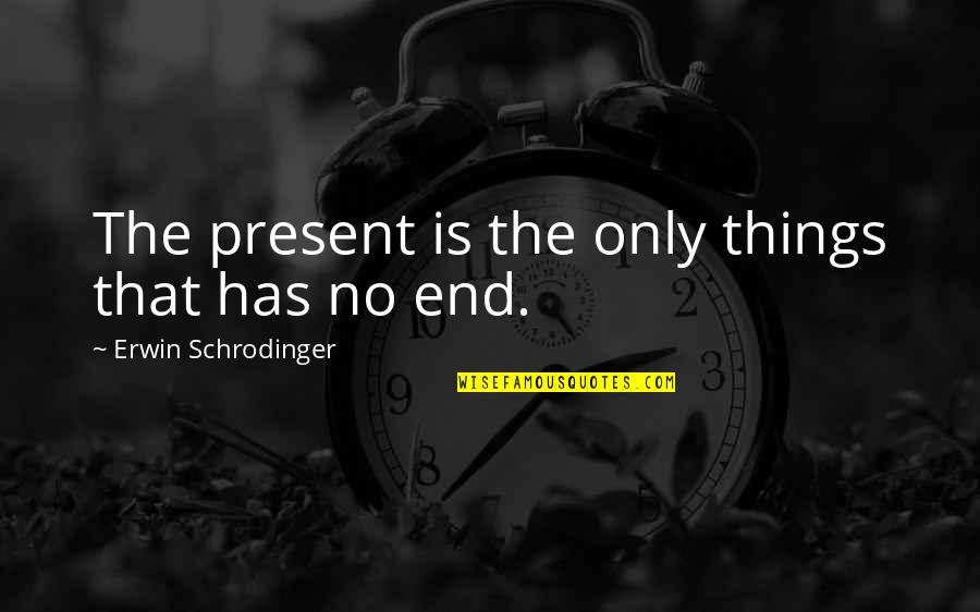 In The End It Only You Quotes By Erwin Schrodinger: The present is the only things that has