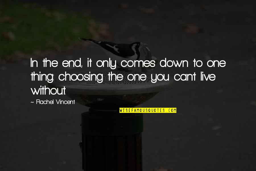 In The End It Only You Quotes By Rachel Vincent: In the end, it only comes down to