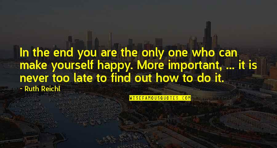 In The End It Only You Quotes By Ruth Reichl: In the end you are the only one