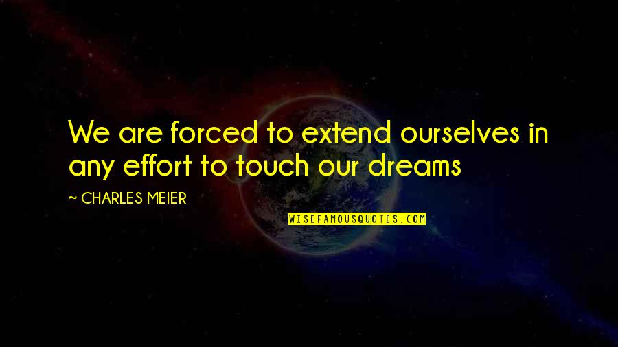 In Touch Quotes By CHARLES MEIER: We are forced to extend ourselves in any