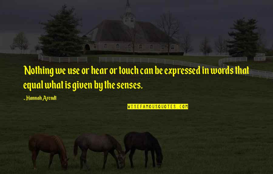 In Touch Quotes By Hannah Arendt: Nothing we use or hear or touch can