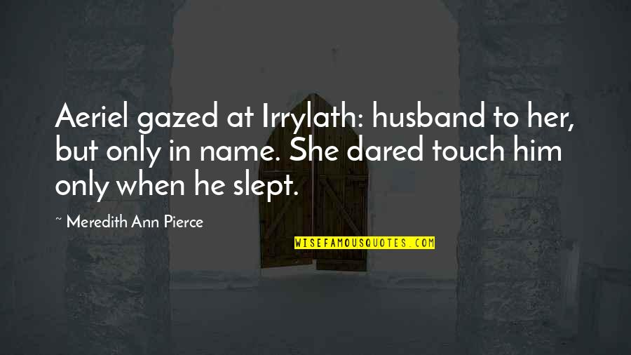 In Touch Quotes By Meredith Ann Pierce: Aeriel gazed at Irrylath: husband to her, but