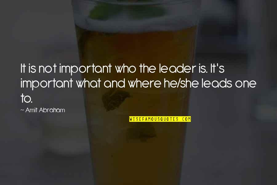Inbetweeners Series 3 Episode 6 Quotes By Amit Abraham: It is not important who the leader is.