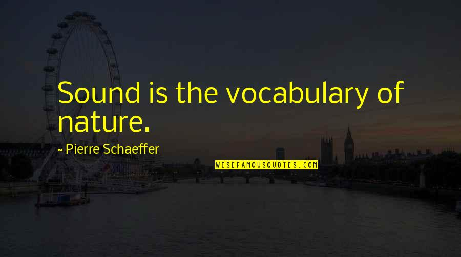 Incendium Quotes By Pierre Schaeffer: Sound is the vocabulary of nature.