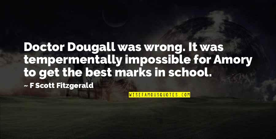 Inch Marks Vs Quotes By F Scott Fitzgerald: Doctor Dougall was wrong. It was tempermentally impossible