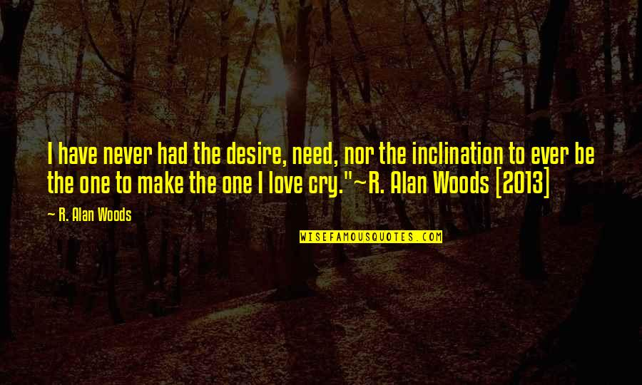 Inclination Quotes By R. Alan Woods: I have never had the desire, need, nor