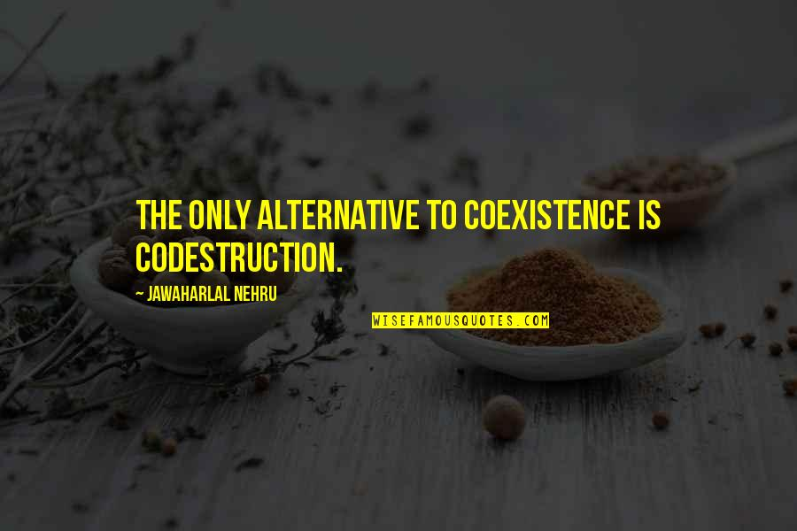 Incoherence Quotes By Jawaharlal Nehru: The only alternative to coexistence is codestruction.