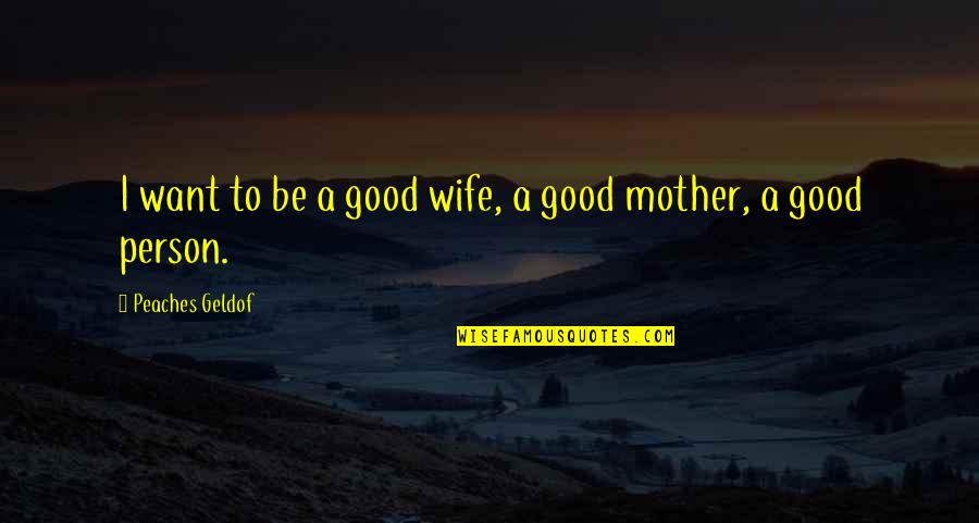 Incomprehensibles Quotes By Peaches Geldof: I want to be a good wife, a