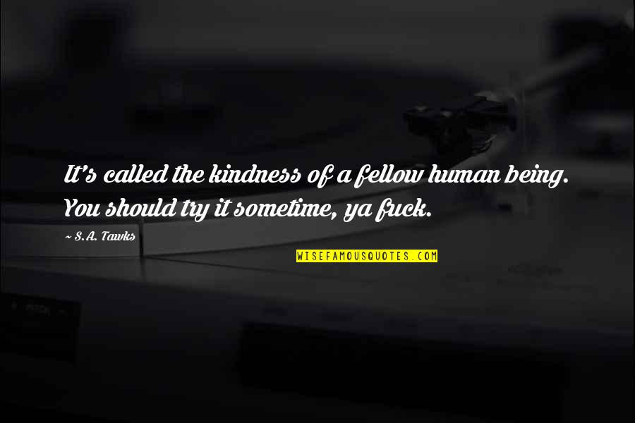 Incomprehensibles Quotes By S.A. Tawks: It's called the kindness of a fellow human