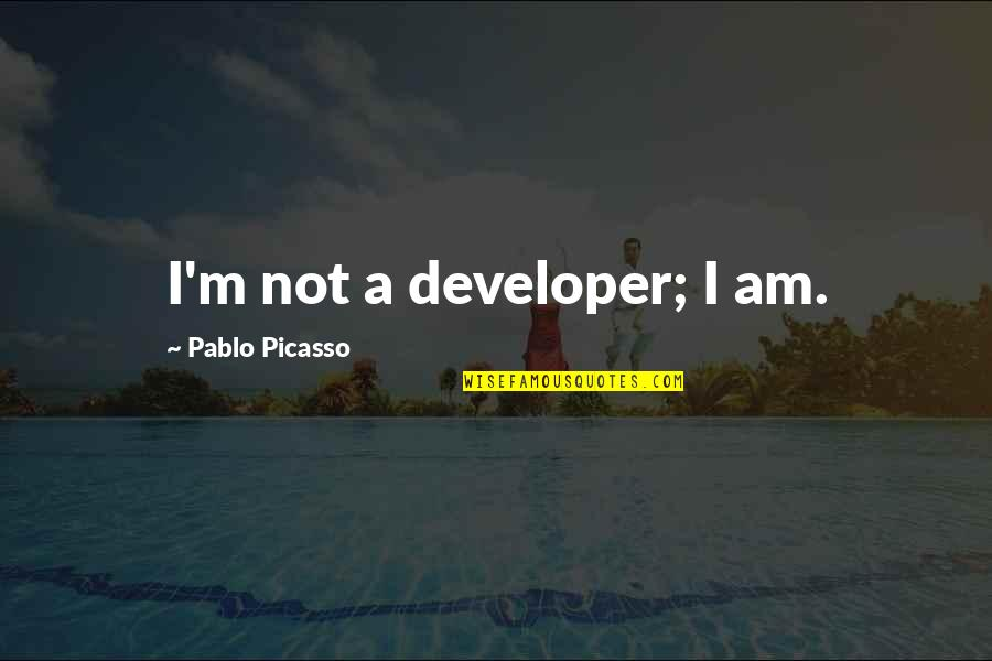 Inconsistency In Love Quotes By Pablo Picasso: I'm not a developer; I am.