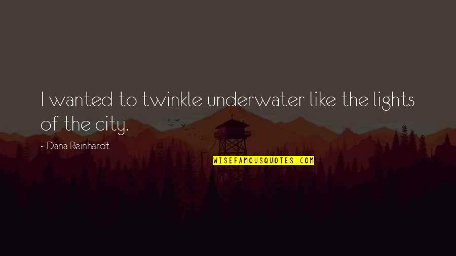 Incontinence Funny Quotes By Dana Reinhardt: I wanted to twinkle underwater like the lights