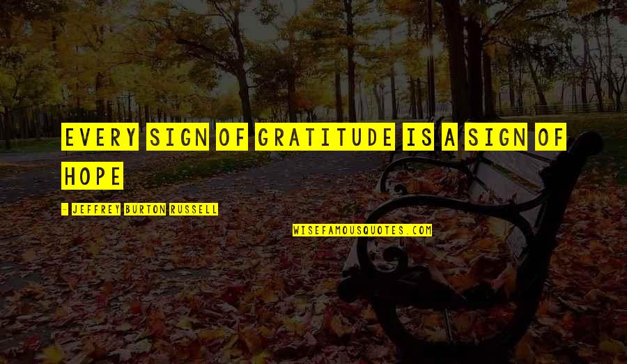 Incrediable Quotes By Jeffrey Burton Russell: Every sign of gratitude is a sign of