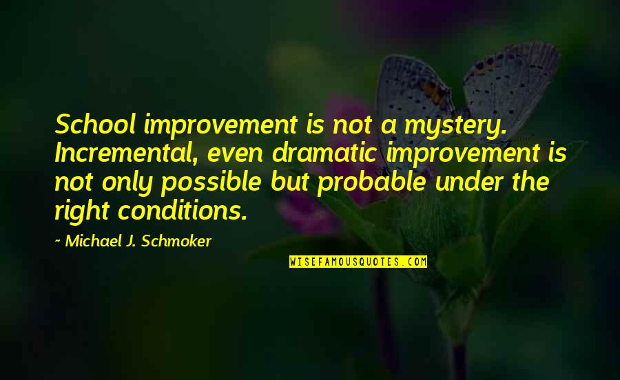 Incremental Improvement Quotes By Michael J. Schmoker: School improvement is not a mystery. Incremental, even