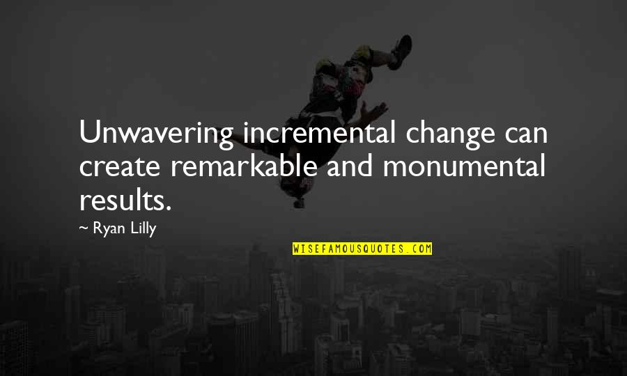 Incremental Improvement Quotes By Ryan Lilly: Unwavering incremental change can create remarkable and monumental