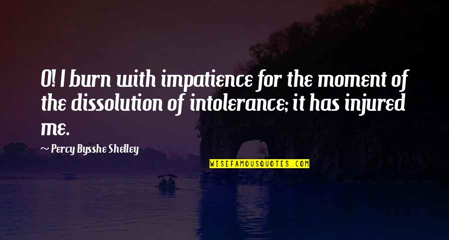 Indecisive Friends Quotes By Percy Bysshe Shelley: O! I burn with impatience for the moment