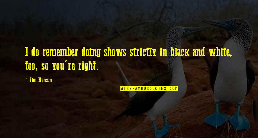 India Westbrooks Quotes By Jim Henson: I do remember doing shows strictly in black