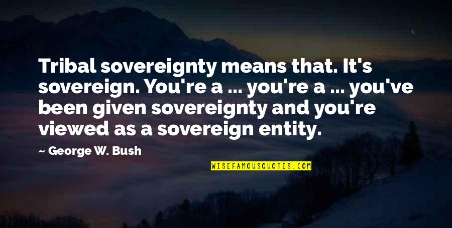 Indian Sovereignty Quotes By George W. Bush: Tribal sovereignty means that. It's sovereign. You're a