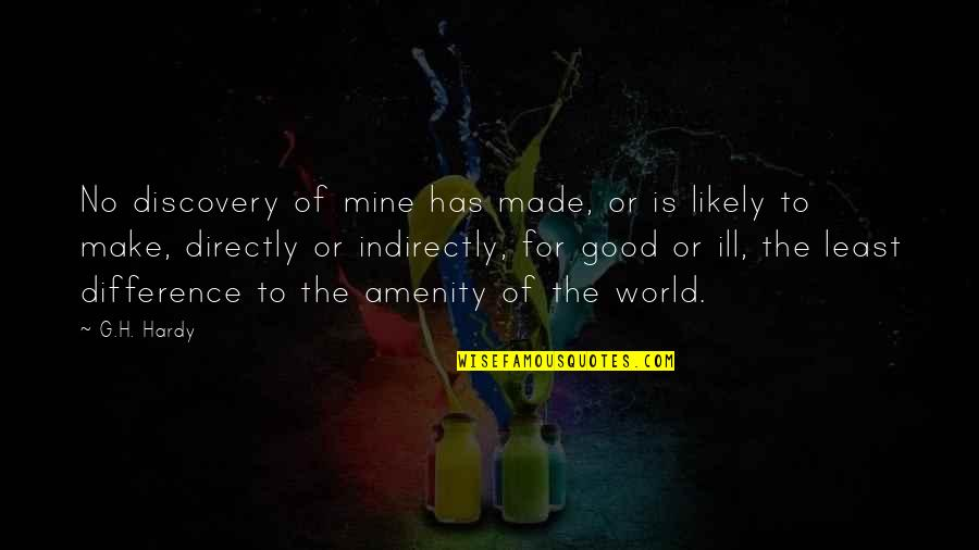 Indirectly Quotes By G.H. Hardy: No discovery of mine has made, or is