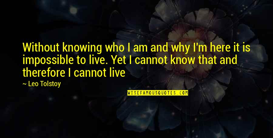 Individual Contribution To Teamwork Quotes By Leo Tolstoy: Without knowing who I am and why I'm